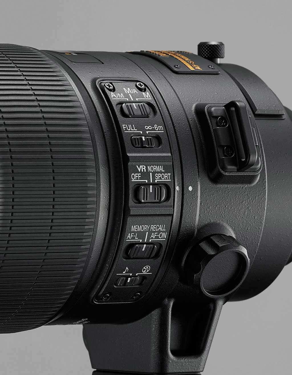 AF-S Nikkor 400mm f2.8E FL ED VR kezelő panel