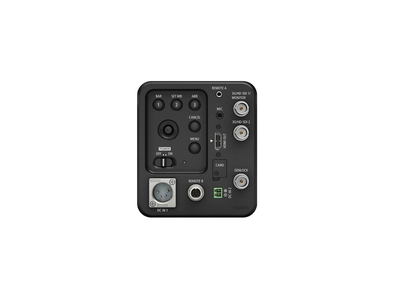A Canon ME20F-SH-án 3G/HD-SDI és HDMI kimenetek valamint kétféle jack csatlakozó, 8-tűs RS-422 aljza