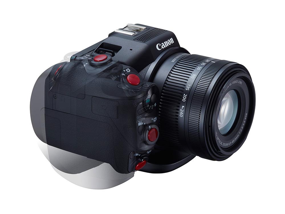 A Canon XC10 elforgatható markolatú.
