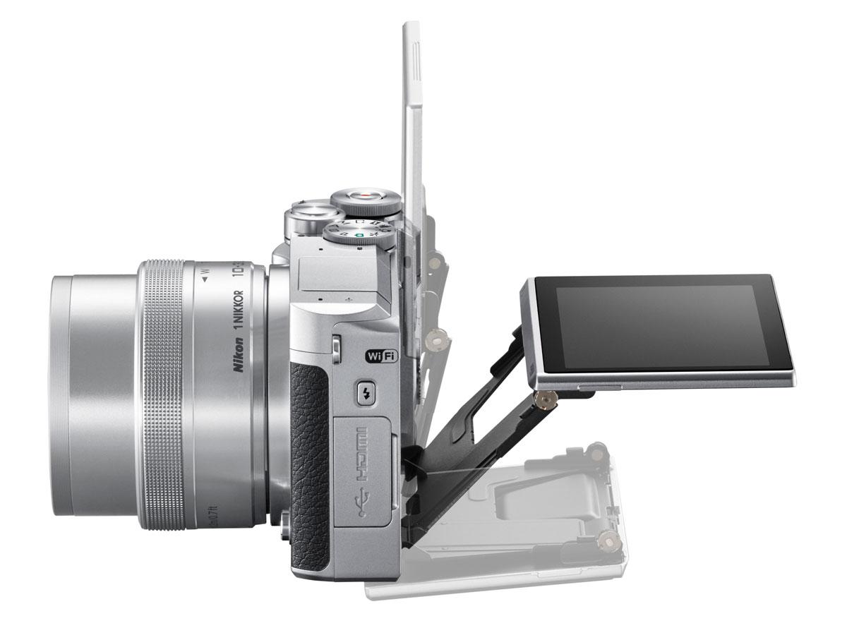 A Nikon 1 J5 3 colos, 1,037 millió képpontos érintésérzékeny LCD-t kapott.