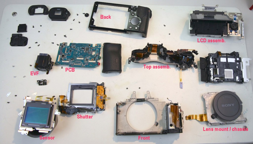 Sony 7R darabjai