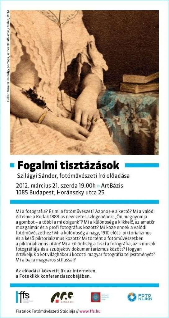 FFS-Szerda: Fogalmi tisztázások – Szilágyi Sándor, fotóművészeti író előadása
