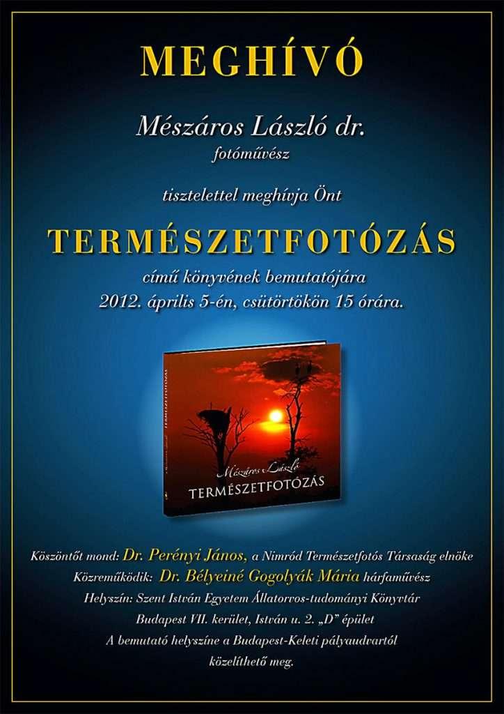 Mészáros László dr. : Természetfotózás – könyvbemutató