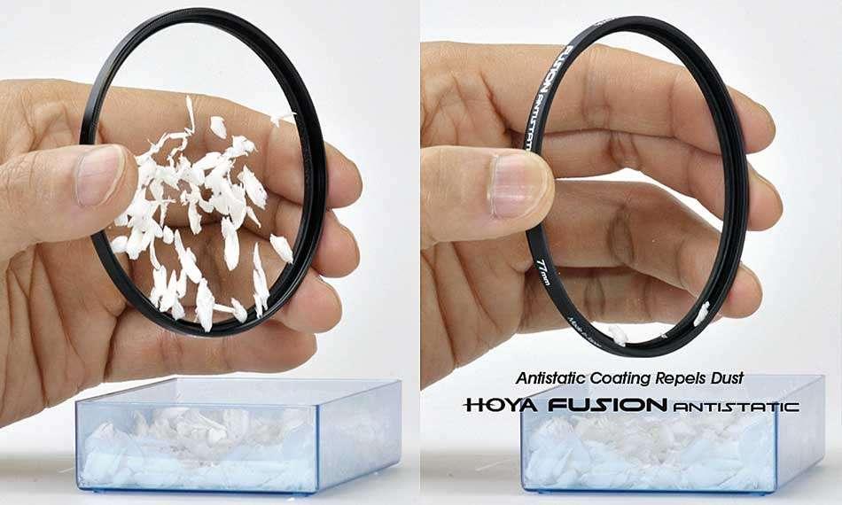 Látványos bemutató, ahogy a Hoya fotográfiai szűrő Fusion antisztatikus családja taszítja a szennyeződéseket