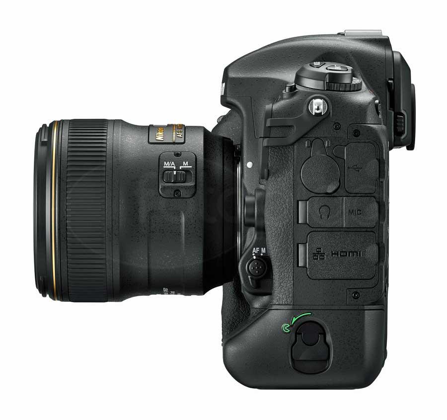 Nikon D5 digitális professzionális DSLR fényképezőgép oldala