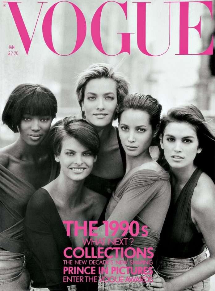 Fotó: Peter Lindbergh: Christy Turlington, Tatjana Patitz, Naomi Campbell, Cindy Crawford and Linda Evangelista, New York, 1989 © Vogue/Peter Lindbergh
