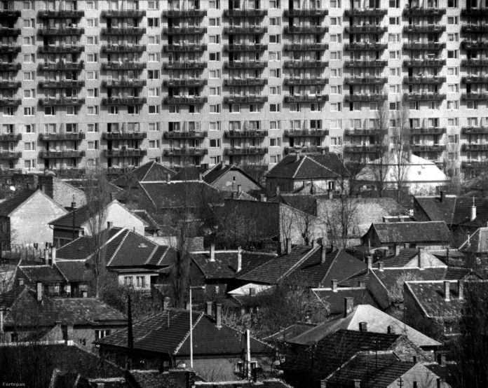 A régi és az új Palota. Rákospalota 1923-ben kapott városi rangot, 1950-ben viszont Pestújhely nagyközséggel együtt beolvadt a fővárosba. Ezek mellett jelölték ki azt a 136 hektáros terület, ahová a lakótelepet építették. Ennek a helyén leginkább bolgár kertészetek és mezőgazdasági területek voltak, de azért laktak is itt emberek, akiknek elbontották a házát. Cserébe volt, aki közülük a lakótelepre költözhetett. (Fotó: Horváth Péter / FORTEPAN)