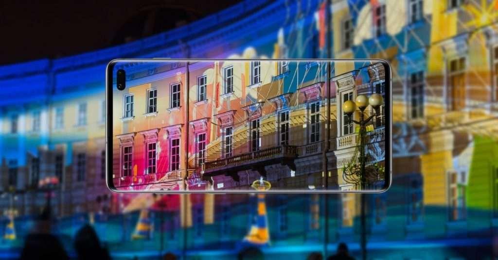 Samsung jubileumi fényfestés