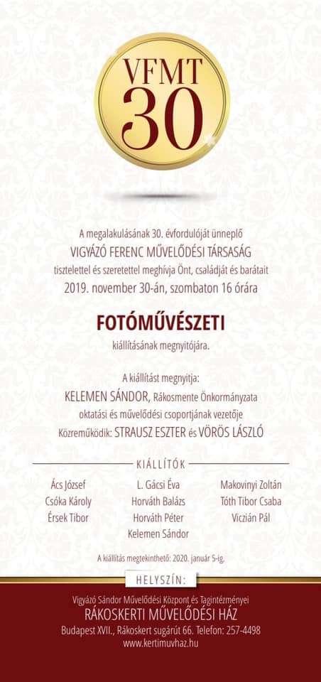 Vigyázó Ferenc Művelődési Társaság Fotóművészeti kiállítás