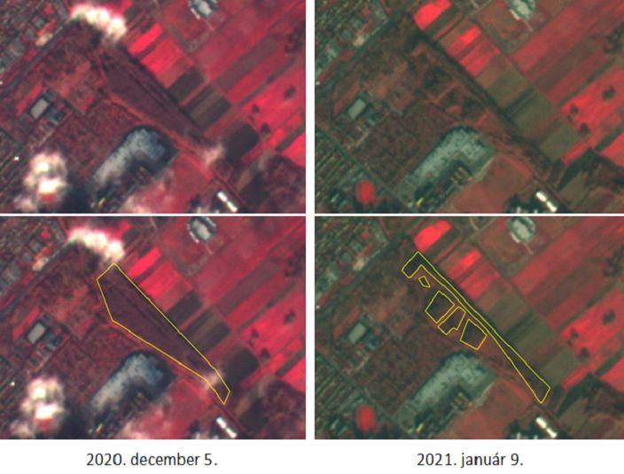 A tarvágás elemzése ingyenesen elérhető Sentinel 2 űrfelvételeken (Forrás: Bakó Gábor)